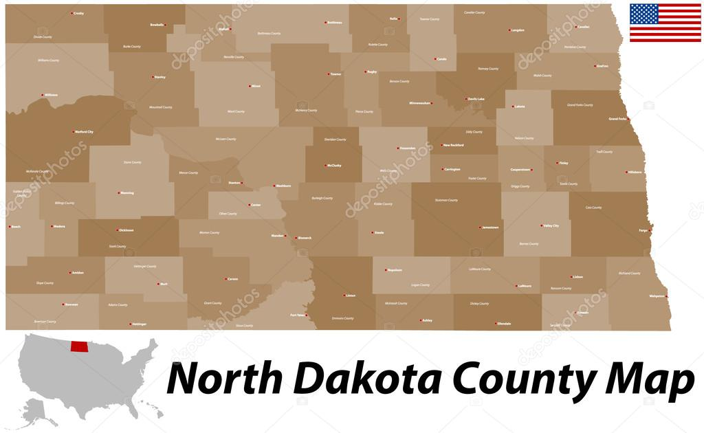 North Dakota County Map — Stock Vector © Malachy666 #59272063