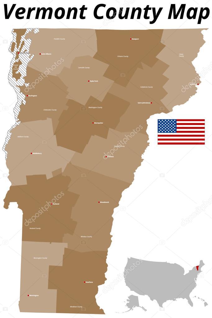 Vermont County Map — Stock Vector © Malachy666 #76030853