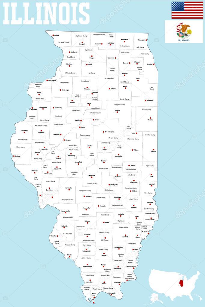 Mapa Del Condado De Illinois Archivo Imágenes Vectoriales - Mapa de illinois