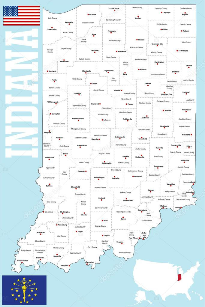 Indiana County Map Stock Vector Malachy666 86027468