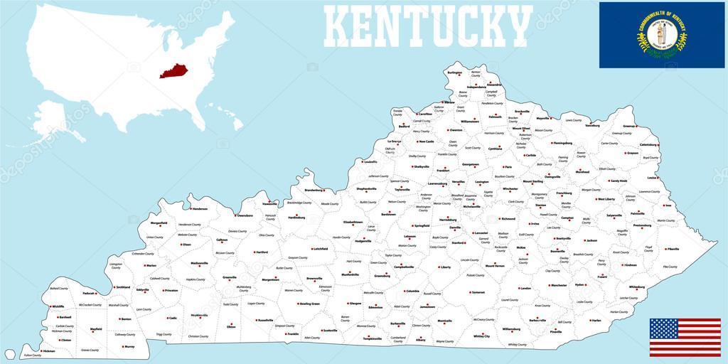 Kentucky County Map Stock Vector C Malachy666 86027478