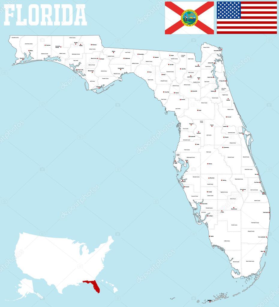 Florida County Map Stock Vector Malachy666 86027536