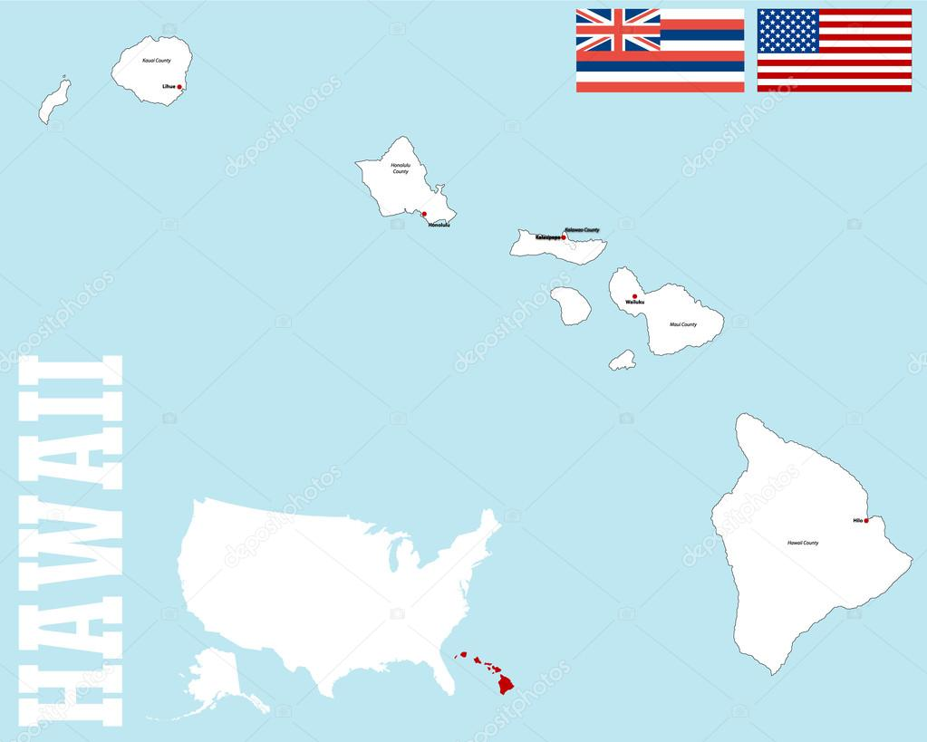 Hawaii County Map Stock Vector C Malachy666 86027540