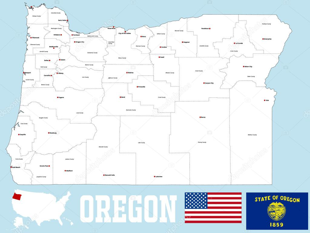Oregon County Map Stock Vector C Malachy666 89750654