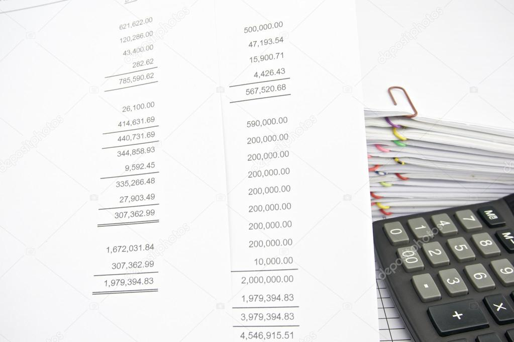 profit loss statement with finance statement and calculator stock