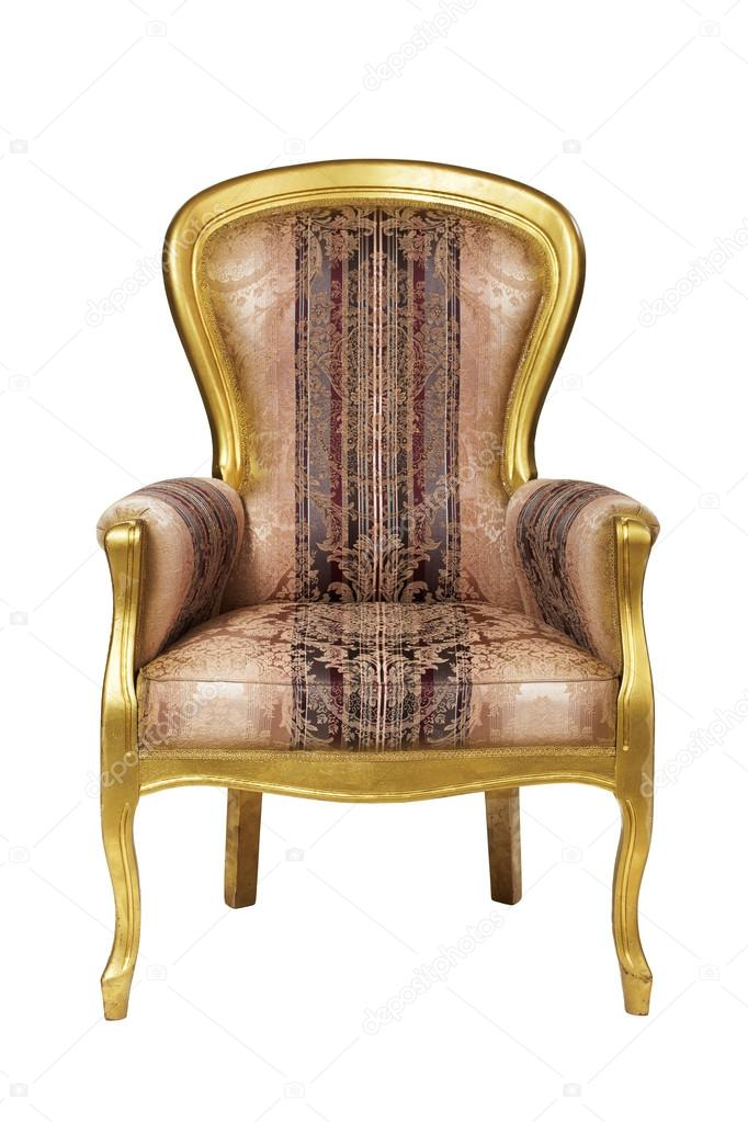 Classic Ancient Armchair With Golden Wood Isolated On White U2014 Photo By  300dpi