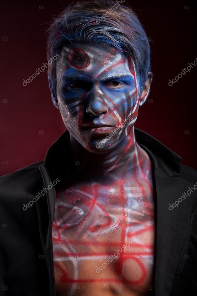 Halloween man with bloody face art