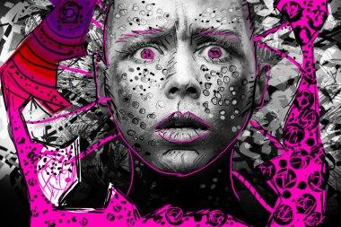 cartoon androgynous woman face