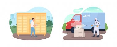 Lockdown delivery service 2D vector web banner, poster set. People during pandemic flat characters on cartoon background. Shipping during covid epidemic printable patch, colorful web element pack icon