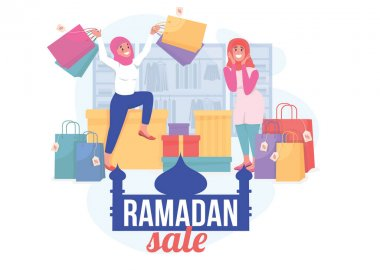 Ramadan sale flat concept vector illustration. Special holiday offer for shopping. Retail promo. Happy islamic women 2D cartoon characters for web design. Seasonal discount creative idea