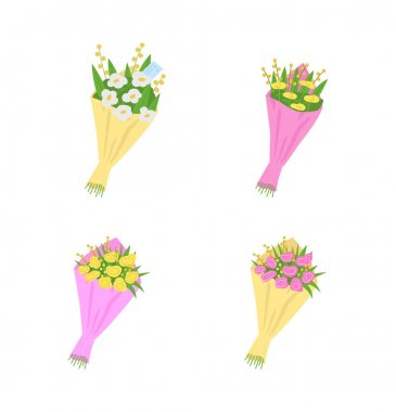 Bouquets, flowers with messages flat color vector object set. Romantic gifts for Valentine day, birthday, anniversary isolated cartoon illustration for web graphic design and animation collection icon