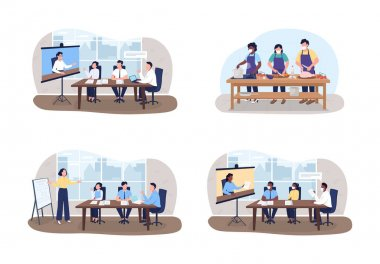 Seminars and workshops 2D vector web banner, poster set. Tutors and students flat characters on cartoon background. Professional training printable patch, colorful web element collection icon