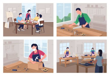 Creative workshop flat color vector illustration set. Cooking course. Carpentry work. Art school. Student in classroom 2D cartoon characters with class interior on background collection icon