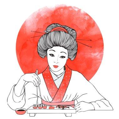 Japanese girl enjoy sushi