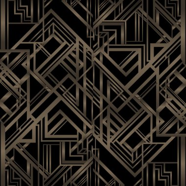 Vintage background. Retro style seamless pattern in gold and black. 1920s clip art vector