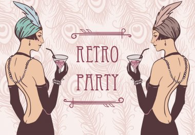 Flapper girls: Retro party invitation