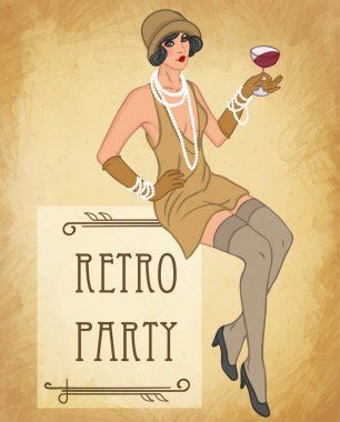 Flapper girl: Retro party invitation