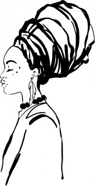 Portrait of beautiful African woman in turban (profile view) clip art vector