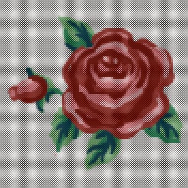 Embroidery, Vintage cross stitch Rose