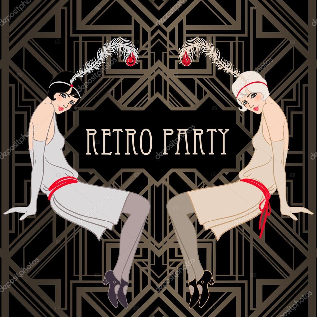 Flapper girls: Retro party invitation — Stock Vector © vgorbash ...