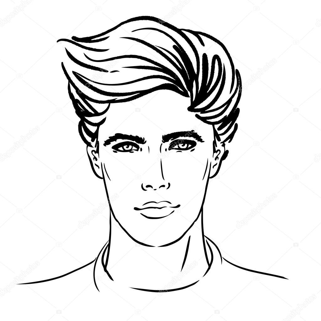 Line Drawing Face Vector : Hipster man face — stock vector vgorbash