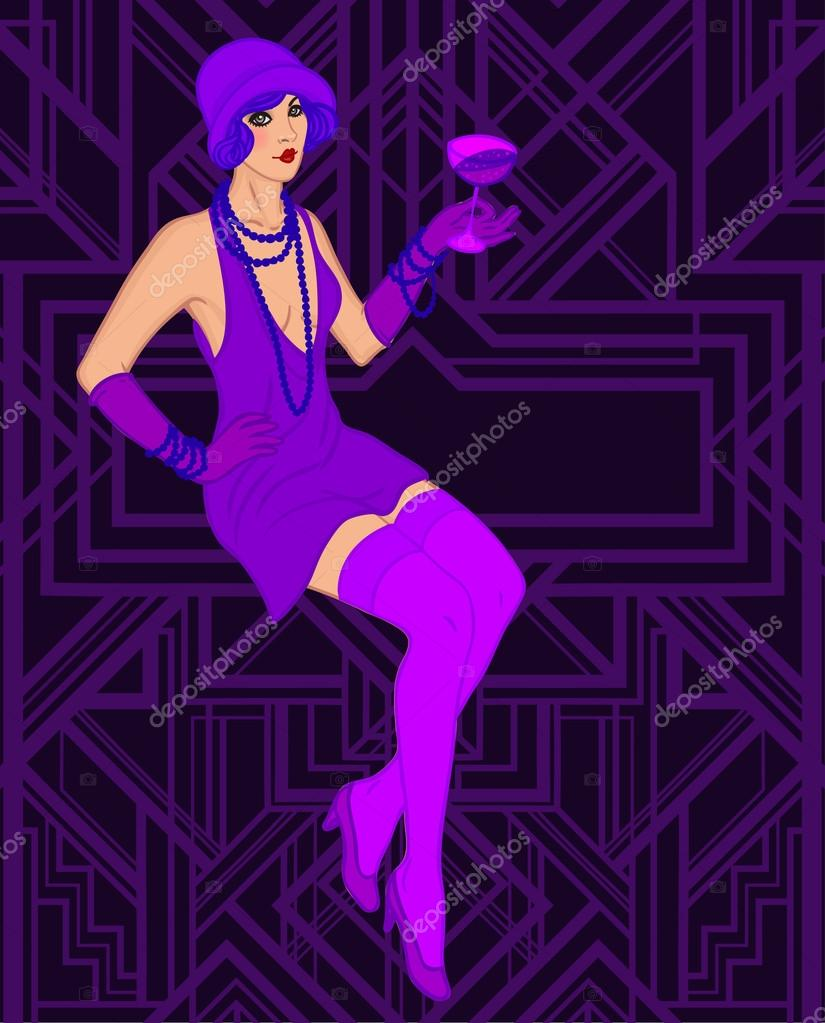 Flapper girl: Retro party invitation — Stock Vector © vgorbash #80046714