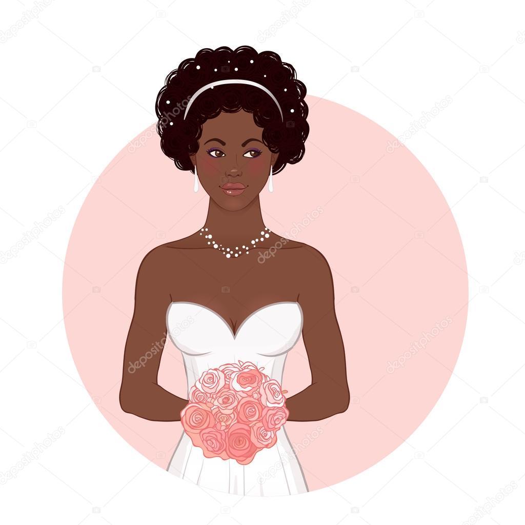 African American novia en vestido de novia — Vector de stock ...