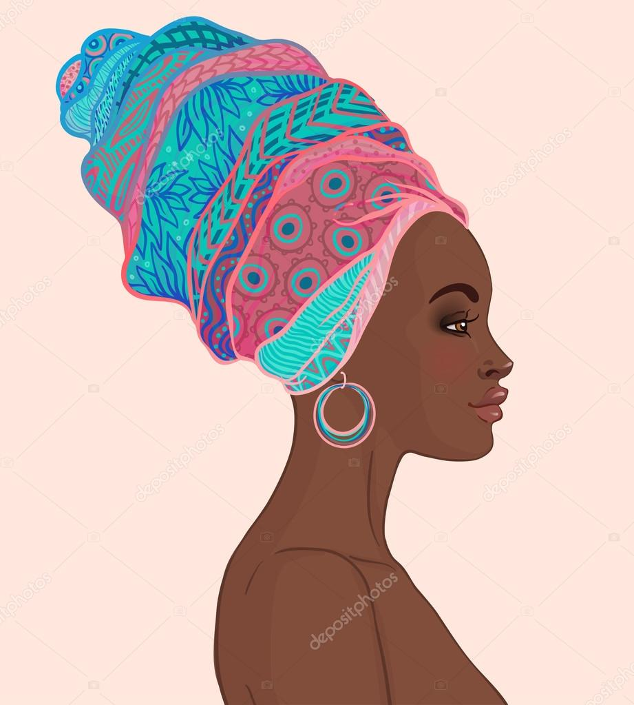 Mulher africana no turbante vetores de stock vgorbash - Africaine dessin ...