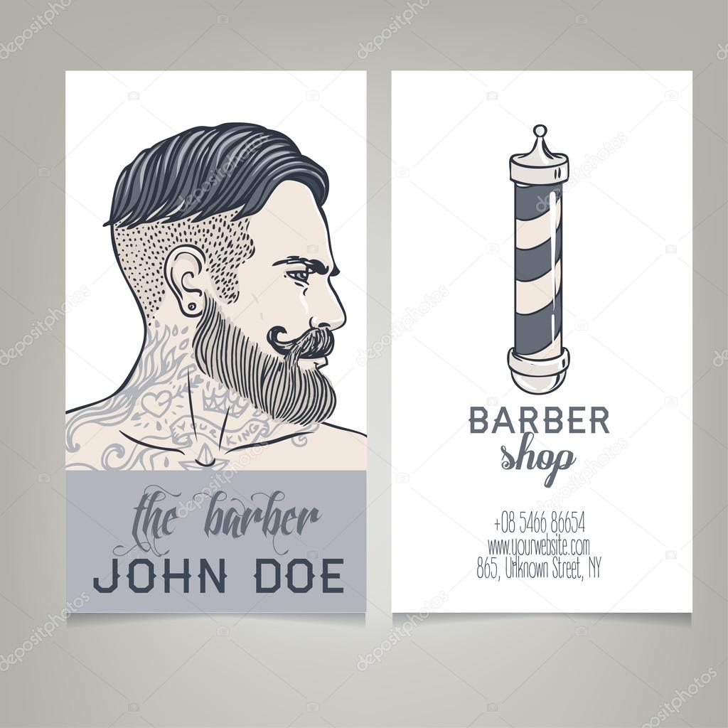 Hipster Barber Shop Business Card Stock Vector Vgorbash - Barber shop business card templates