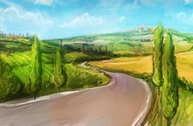 Tuscany: Rural landscape with fields and hills