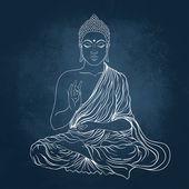 Fotografie Sedící Buddha nad pozadím tabule