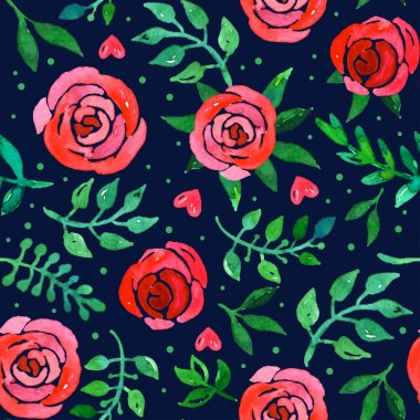 Boho style roses seamless pattern. Watercolor vector illustration. stock vector