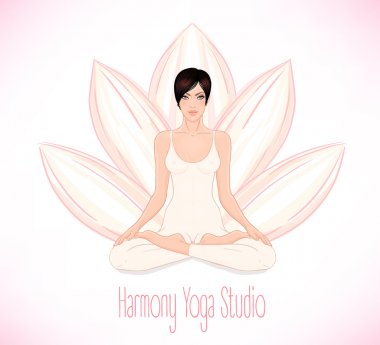 Brunette Girl sitting in Lotus pose