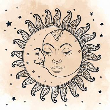 Sun and moon. Illustration in vintage style.