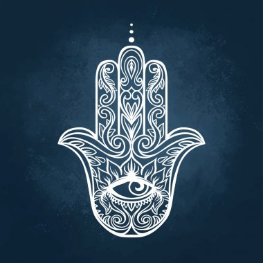 Ornate hand drawn hamsa. Popular Arabic and Jewish amulet. Vector illustration stock vector