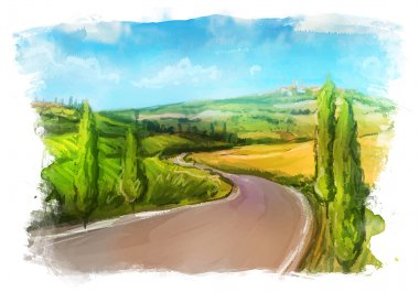 Tuscany: Rural landscape with fields and hills. Watercolor Illustration. stock vector