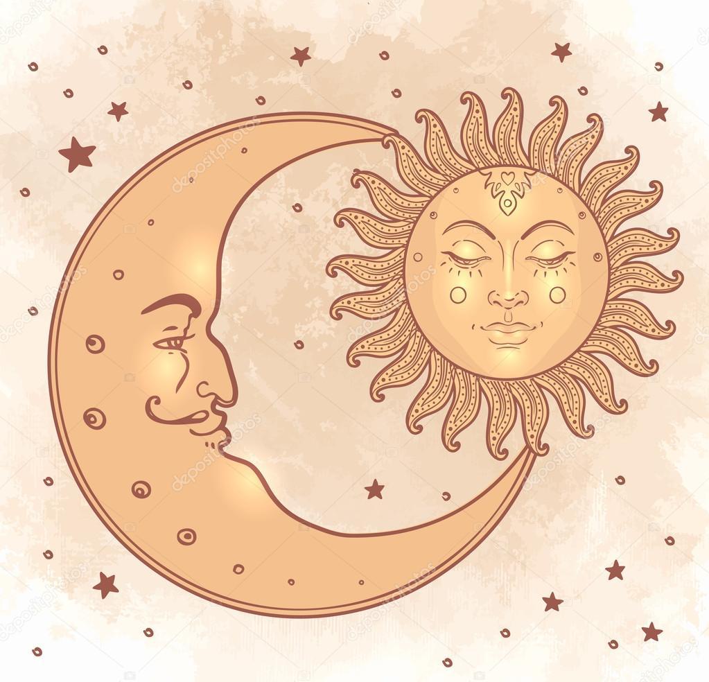 Lune Et Soleil Tribal El Sol Y Luna En Estilo Vintage Vector De