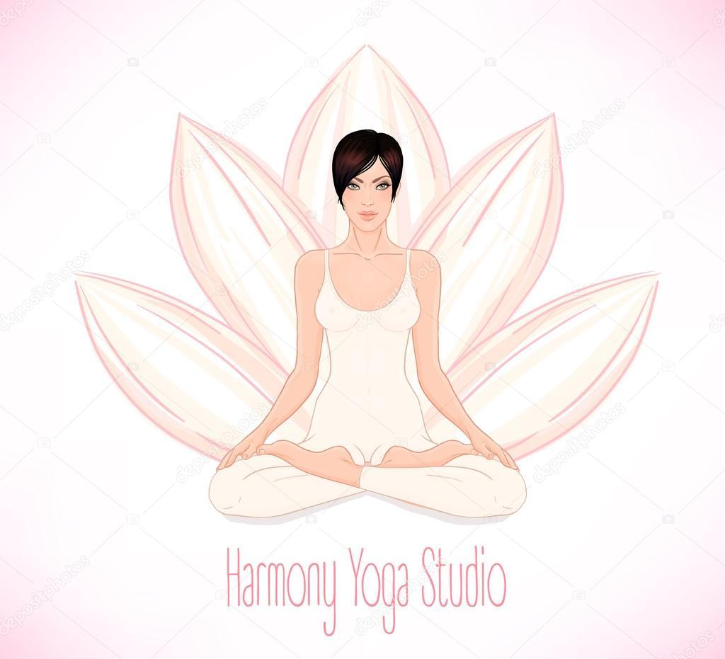 Brunette Girl sitting in Lotus pose