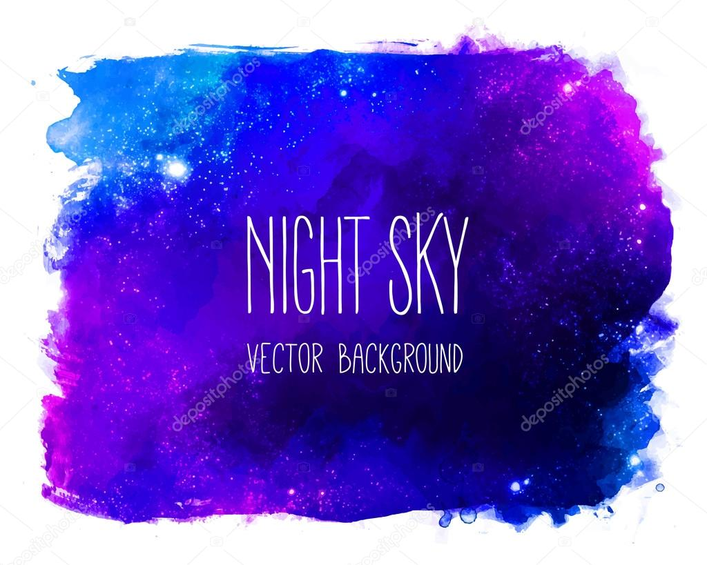 Watercolor space texture with glowing stars