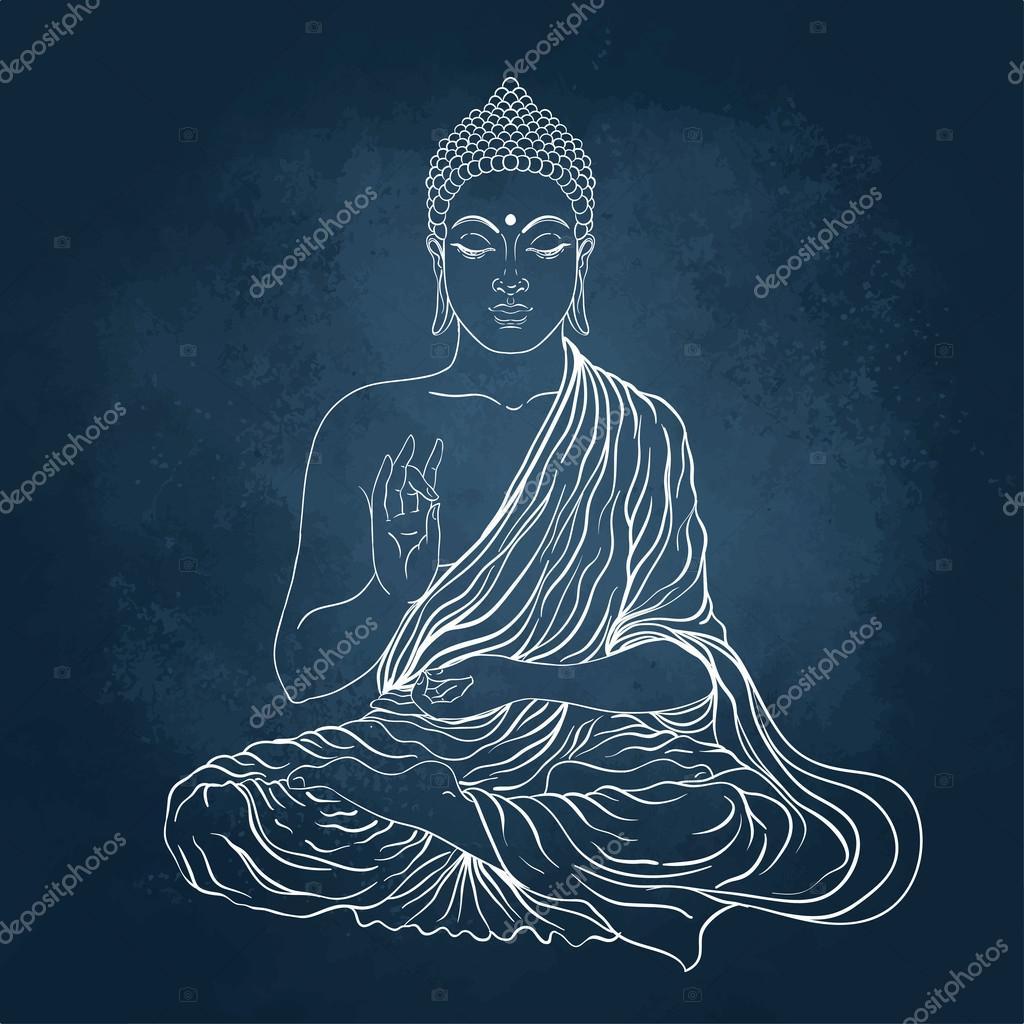Sitting Buddha over the blackboard background