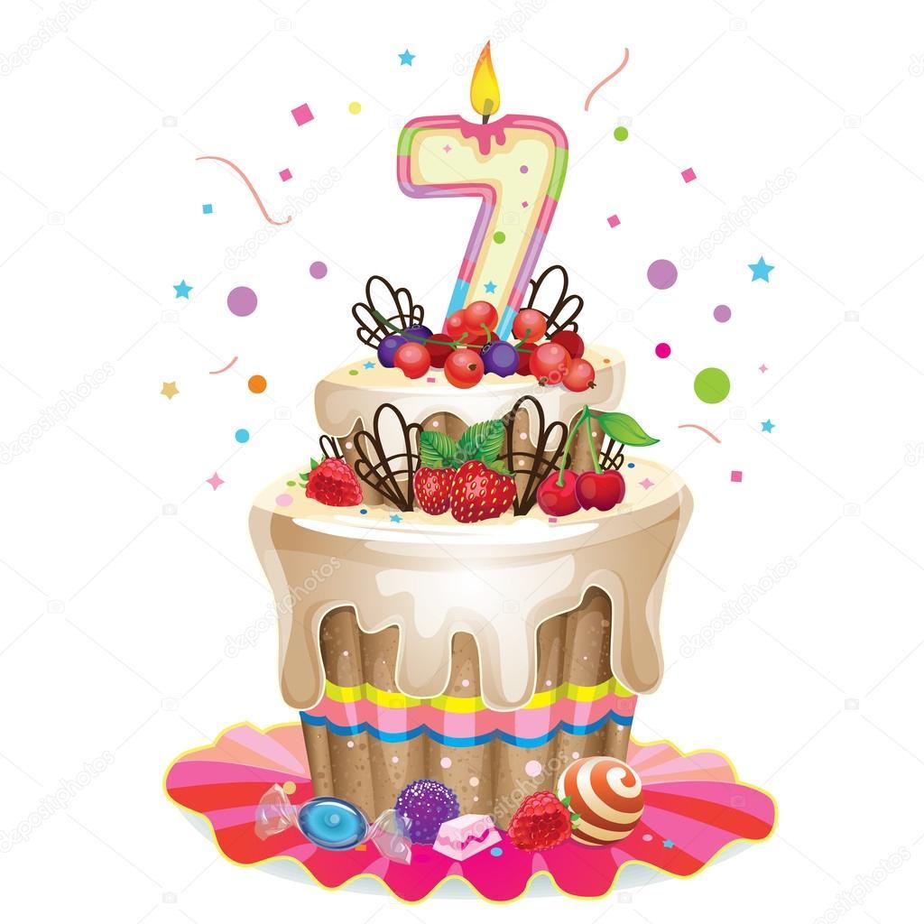 Glücklich Geburtstagskuchen 7 — Stockvektor © love_is_love #56894599