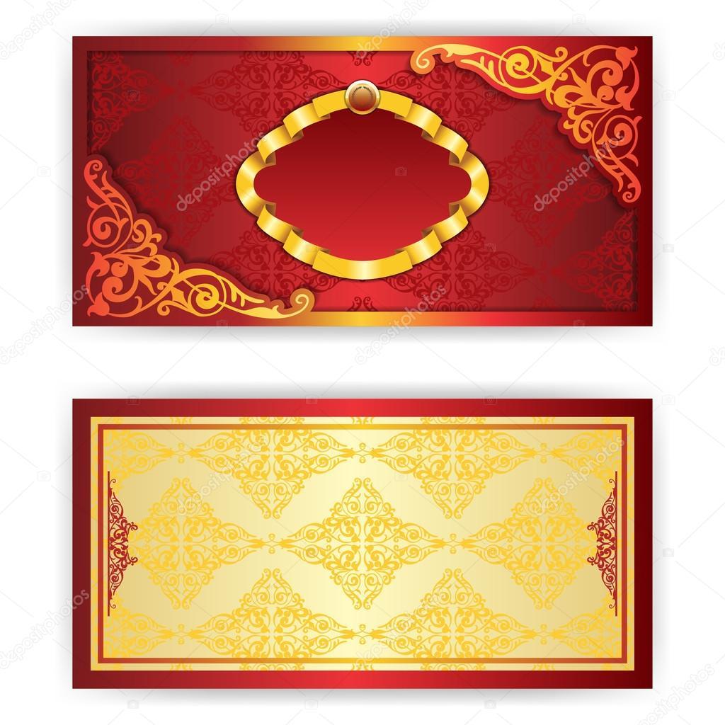 Carto de convite real vetor com frame vetores de stock vector royal invitation card with gold frame and filigree ornament place for text vetor de tashahryshchenko stopboris Images