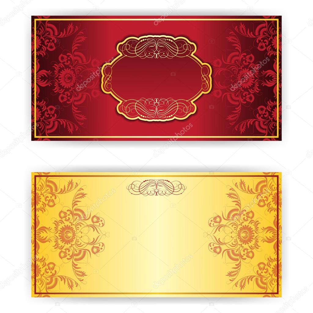 Carto de convite real vetor com frame vetores de stock vector royal invitation card with gold frame and damask ornament place for text vetor de tashahryshchenko stopboris Gallery