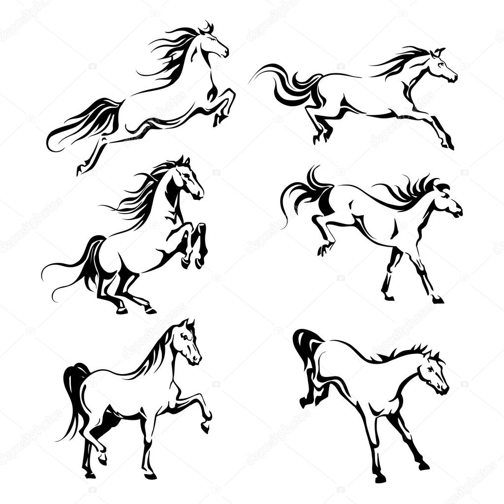 Set With Hand Drawing Graphic Of A Running Horses Stock Vector