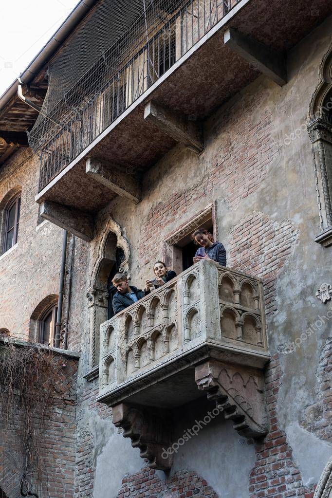 Verona Italien Marz 24 Balkon Von Romeo Und Julia In Verona