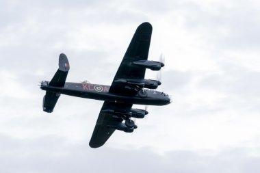 Avro Lancaster bomber flying over Shoreham Airfield