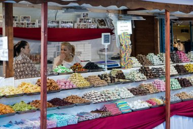 Market stall selling confectionery in Budapest
