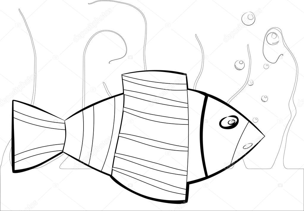 Siyah Ve Beyaz Deniz Balığı Stok Vektör Nexmann24 116253998