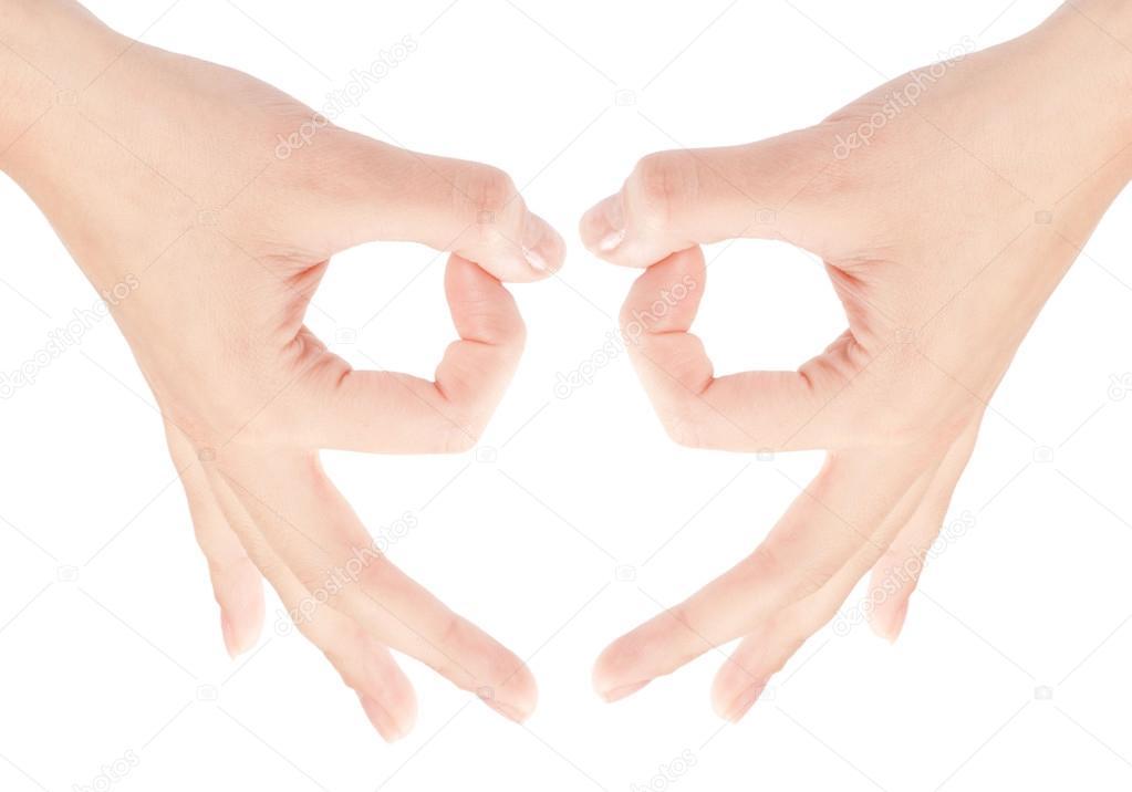 Hand OK sign isolated — Stock Photo