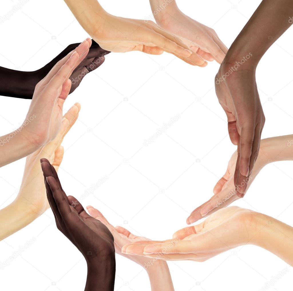 Conceptual symbol of multiracial human hands making a circle